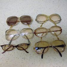 Lot of 6 Vintage Eyeglasses Big Eye Round Thick Frames Butterfly 1970s Glasses