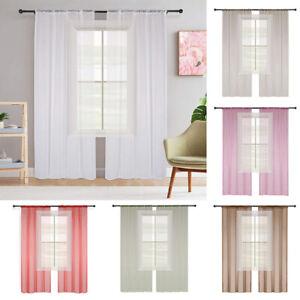 Rod Pocket Sheer Tulle Gauze Curtain 2 Panels Drapes Window Screening Voile
