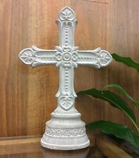 OUTDOOR LIVING GARDEN ORNAMENT CROSS CEMENT GREY COLOR