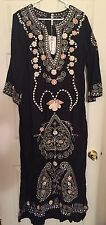 Black Linen Tunic Dress- Long- Embroidered- Size L