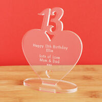 13th Birthday Personalised Milestone Heart Keepsake Gift for Boy Girl Teenager