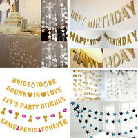Gold Glitter Bunting Letter Banner Bridal Shower Wedding Hen Party Hanging Decor