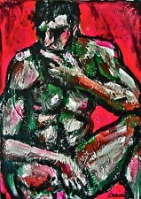 """Absract nude man 27x19 acrylic canvas painting """"Thinker"""" by artist Anninos"""