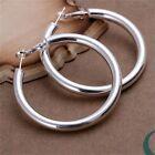 New Women Jewelry 925 Silver plated Round Hoop Dangle Earrings Studs