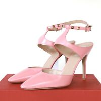 VALENTINO GARAVANI pink leather rockstud pointed toe high heel stud shoes 40 NEW
