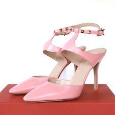 VALENTINO GARAVANI pink leather rockstud pointed toe high heel stud shoes 40 NEW