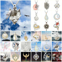 Damen Frauen Halskette Silber Kristall Strass Kette Anhänger Tropfen Modeschmuck