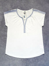 NEW WITH TAG OLD NAVY V-Neck Embroidered Trim Capped Sleeve Tunic/Top/Shirt Sz M