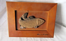 Vintage Wooden Box with Fish on Top Signed