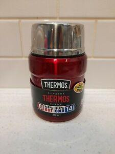 Thermos food flask & spoon red, 470ml, wide top for soup or drink, new