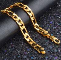 24k Gold Bracelets Men's Bold Figaro Style Cuban Link Chain +GiftPk D471G