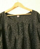 Tu Top Ladies Black Sheer Floral Blouse Short sleeve UK 12