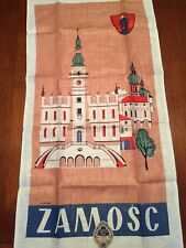 Vtg ZAMOSC POLAND Town Hall Linen Tea/Dish Towel Signed Szymczak Orig Label NIP