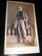 Cdv old photograph man small black dog by Parkinson Dieppe France c1860s