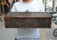 """20"""" Old Chinese Huanghuali Wood Carved Dragon Totem Storage box Treasure chest"""