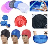 New-Silicone Swimming Cap With Ear Pockets Long Hair Large Men Ladies Hat
