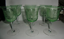 Six Super Etched Vine & Grape Wine Glasses  Green Bowl Tint - early 20th Century