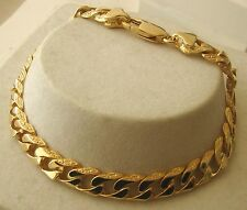 GENUINE SOLID  9K  9ct YELLOW Gold PATTERNED FLAT CURB BRACELET 21 cm