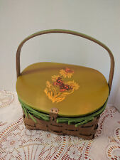 VINTAGE BASKET PURSE HINGED WOODEN LID W/ BUTTERFLY & GREEN VELOUR RIBBON