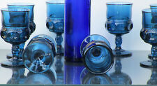 Indiana Glass Kings Crown Thumbprint  Footed Cordial  Blue Set of 8