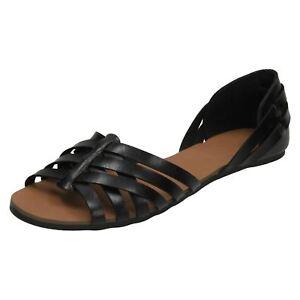 Sale Ladies Spot On Synthetic Peep Toe Casual Summer Sandal / Flat Shoe F00051