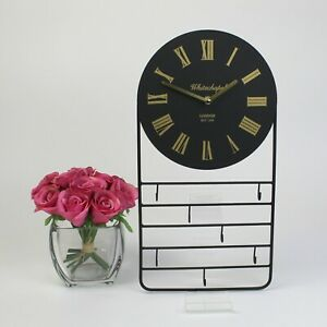 Whitechapel Wall Clock with Storage Hook and Rack. Black with Gold Numbers.