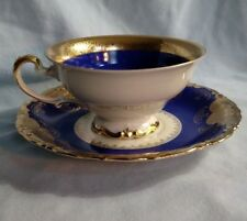 Kronach Bavaria Cup and Saucer - Cream Background with Blue and Gold