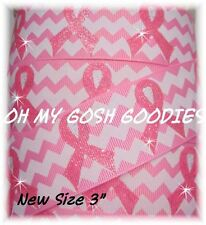 "3"" CHEVRON GLITTER PINK BREAST CANCER AWARENESS GROSGRAIN RIBBON 4 HAIRBOW BOW"