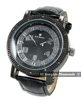 mens black diamond classic clubbing watch silver black dial leather strap master