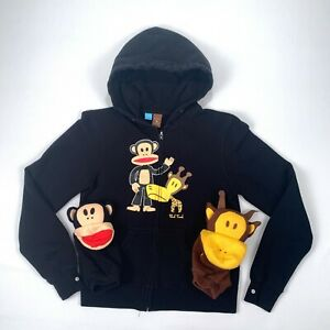 Paul Frank Adult Size Small S (Kids XL) Black Zip-Up Hoodie & Snap Hand Puppets