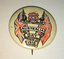 Rare Antique Australia Day Patriotic British & Au Flags! C.1918 Pinback Button!