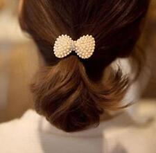 Hot Women's fashion headwear small pearl bow hair ring diamond hairpin