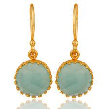 Traditional Design 18k Yellow Gold Plated Aqua Chalcedony Brass Drop Earrings