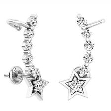 0.60 CT 10K White Gold Round White Diamond Ladies Stars shaped Climber Earrings