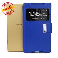 Funda Sony E6603 Xperia Z5 tapa tipo libro gel soporte y ventana color azul