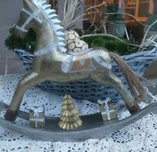 Natale cavallo a dondolo oro bianco argento legno stile nostalgico Decorazione
