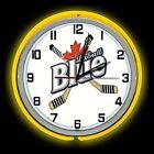 """19"""" Labatt Blue Beer Sign Double Neon Clock Yellow Neon Color Beer Man Cave Bar"""
