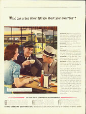 1939 Vintage ad for Ethyl Gasoline Corp~retro diner scene/bus driver/waitress