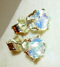 GENUINE RAINBOW MOONSTONE 100% NATURAL, FACETED  5MM ROUND EARRINGS STERLING