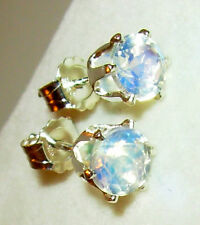 100% NATURAL, FACETED GENUINE RAINBOW MOONSTONE 5MM ROUND EARRINGS STERLING