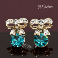 18k rose gold gf made with Swarovski crystal bow tie blue stud fashion earrings