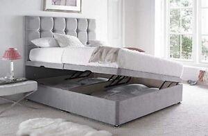 Luxury Plush Velvet Ottoman Divan Bed Frame -Side Lift Storage - Mattress Option