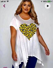 Ladies Size 22/24 Longline T-shirt With Animal Print Heart White