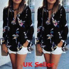 UK 8-22 Womens Choker Long Sleeve Ladies Floral Chiffon Top Blouse T Shirt Tee