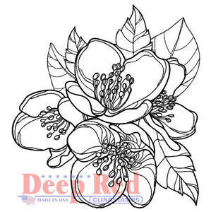 Deep Red Stamps Magnolia Blossom Rubber Cling Stamp