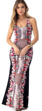 New Sky Shiloah sexy Maxi Dress rayon floral black Made in USA Size M