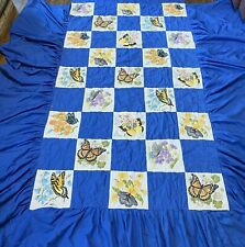 Vintage Butterfly Twin Quilt Bedspread Liquid Embroidery Handmade Ruffle Skirt