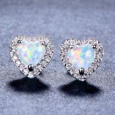 Heart Cut White Fire Opal Stud Earrings White Gold Wedding Jewelry Womens Gift