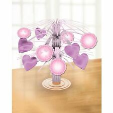 Mini Foil Cascade Table Centrepiece Baby Christening Baptism Pink Decorations