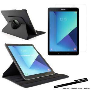 Housse Etui Noir pour Samsung Galaxy Tab S3 9.7 SM-T820 + Vitre de protection